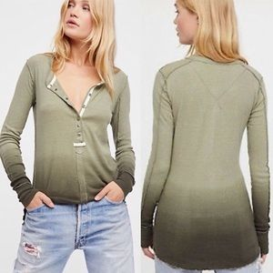 NWT Free People Cozy Up Military Combo Henley Top